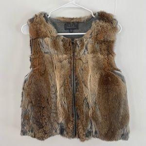 Patterson J. Kincaid Rabbit Fur Vest Brown Gray